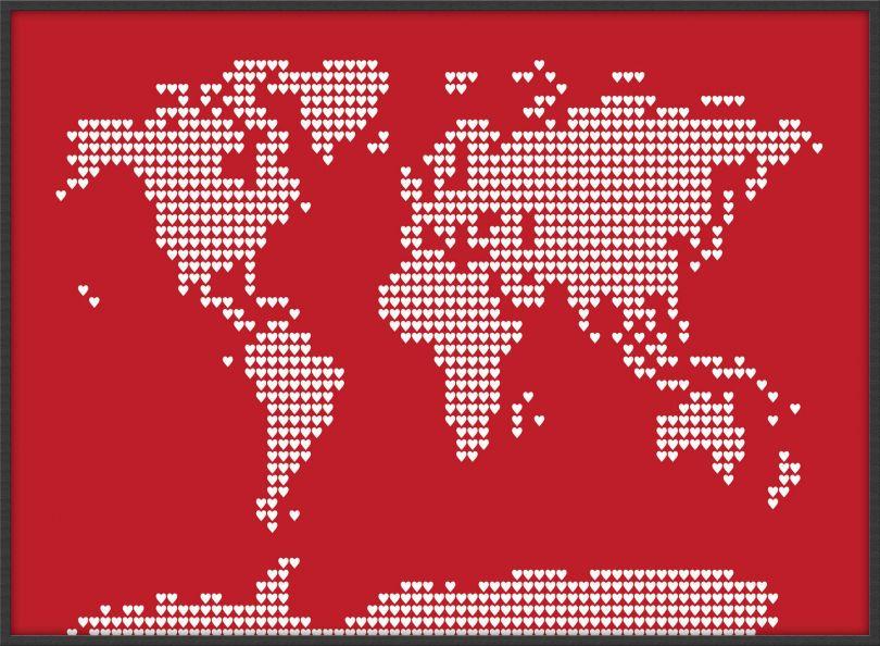 Large World Map Love Hearts (Wood Frame - Black)