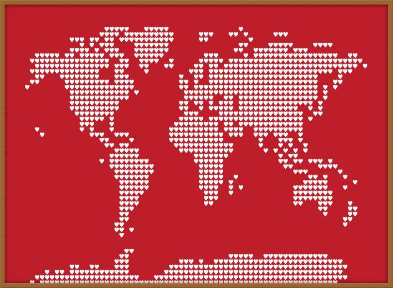 Large World Map Love Hearts (Wood Frame - Teak)