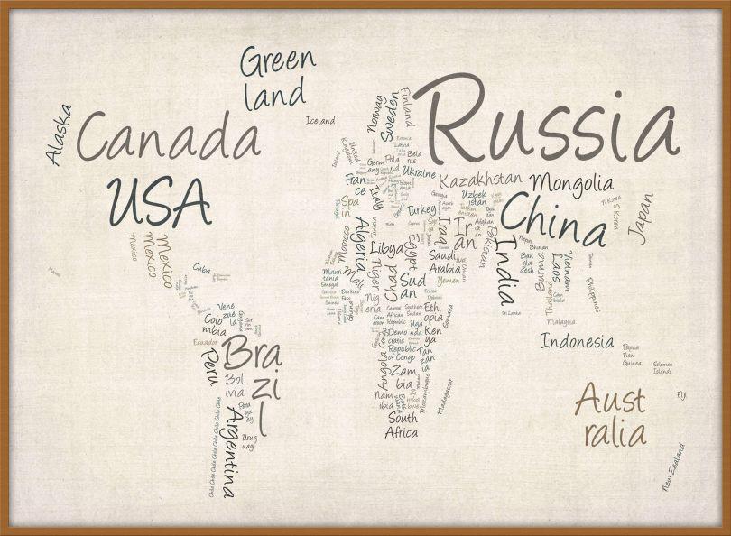 Large Writing Text Map of the World (Wood Frame - Teak)