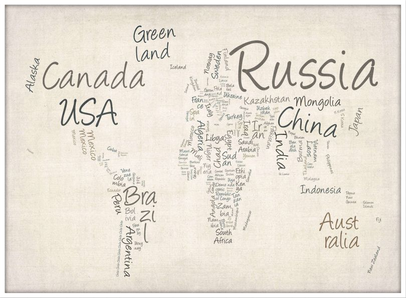 Large Writing Text Map of the World (Pinboard & wood frame - White)