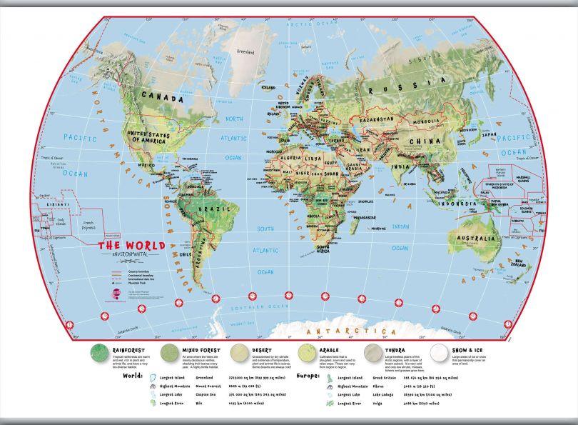Huge Primary World Wall Map Environmental (Hanging bars)