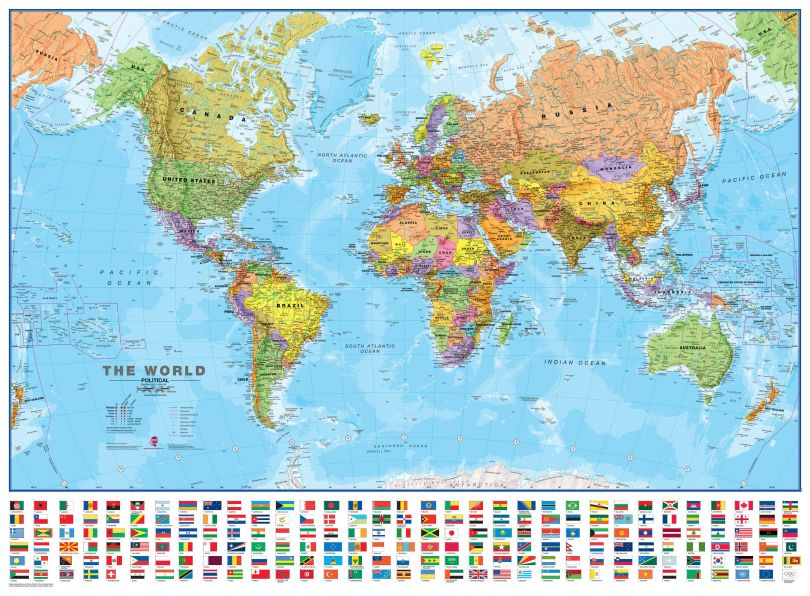 Large World Wall Map Political with flags (Paper)