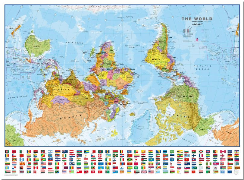Large Upside-down World Wall Map Political with flags  (Pinboard)