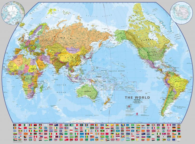 World Pacific-centred Wall Map with flags