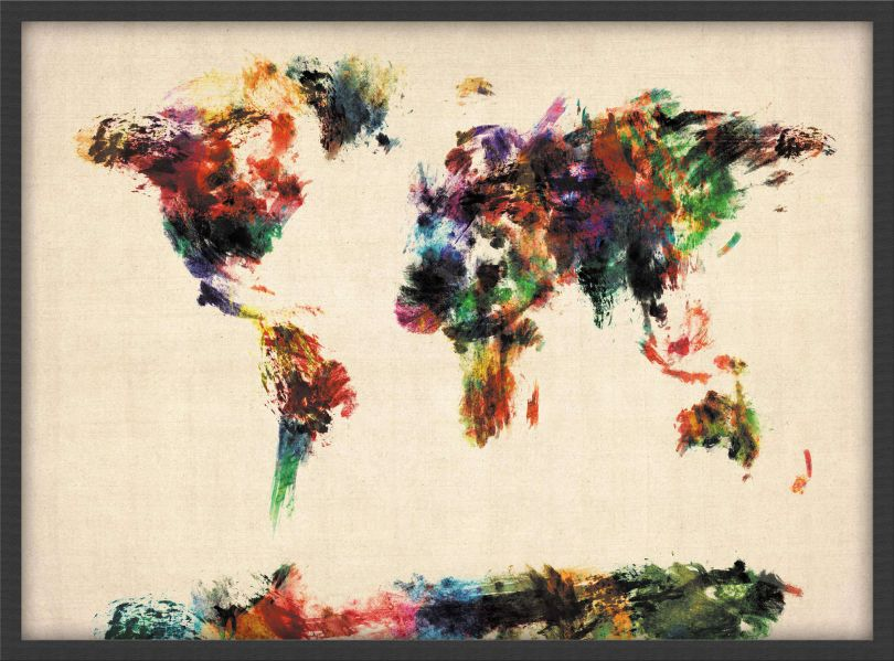 Small Abstract Painting Map of the World  (Pinboard & wood frame - Black)