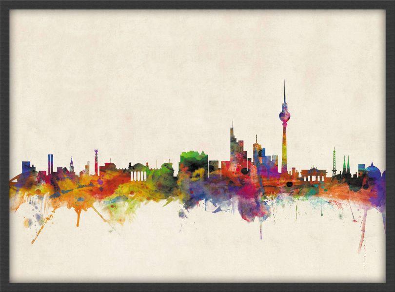 Medium Berlin City Skyline (Pinboard & wood frame - Black)