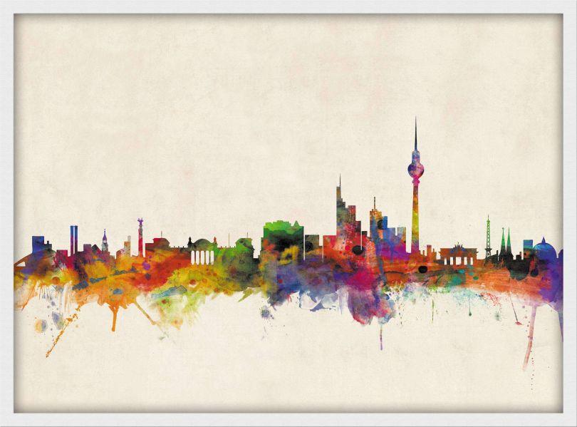 Small Berlin City Skyline (Wood Frame - White)