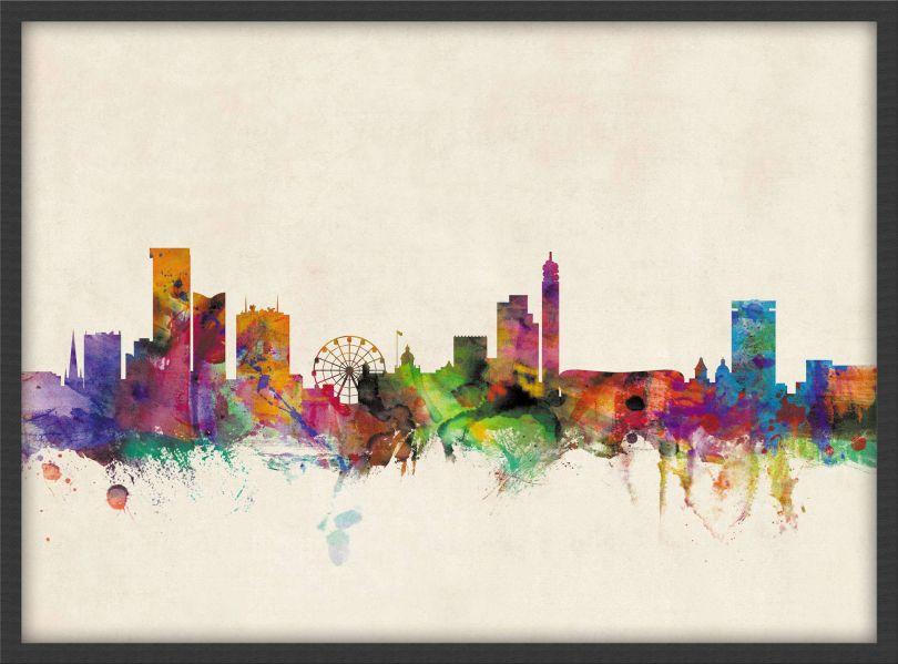 Small Birmingham City Skyline (Wood Frame - Black)
