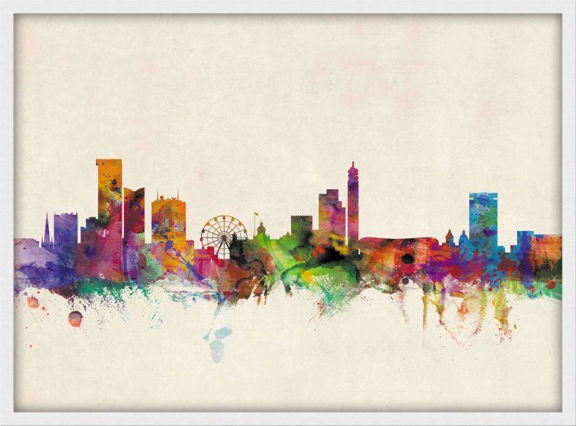 Small Birmingham City Skyline (Wood Frame - White)