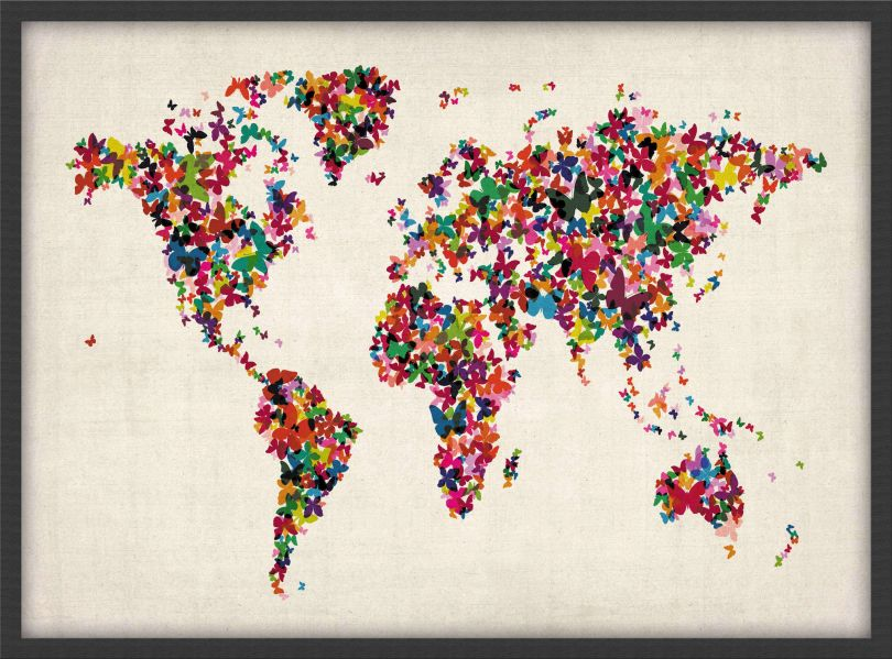 Small Butterflies Map of the World (Pinboard & wood frame - Black)