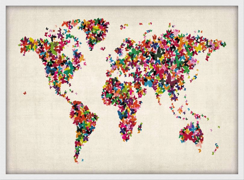 Small Butterflies Map of the World (Wood Frame - White)