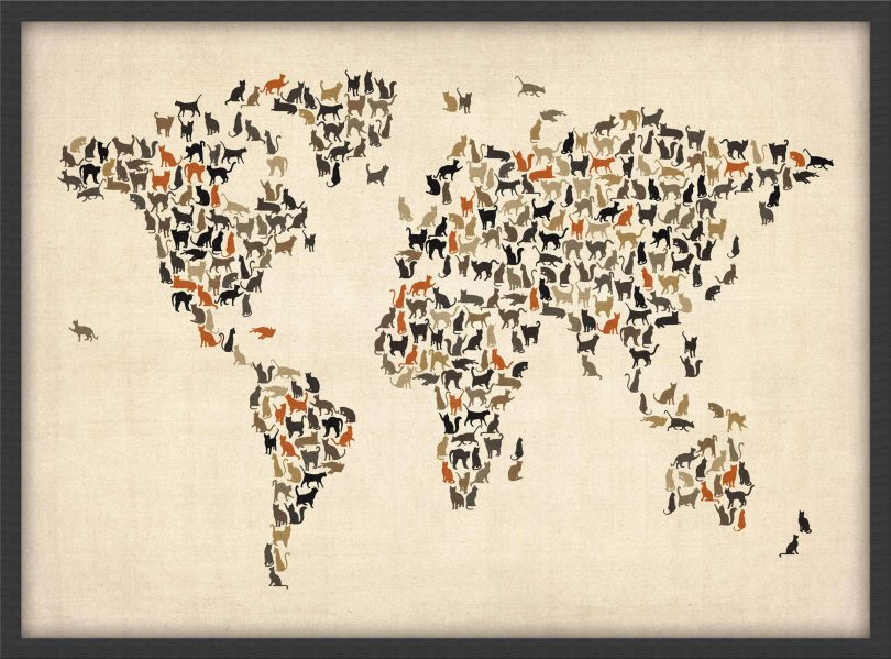 Medium Cats Map of the World (Pinboard & wood frame - Black)