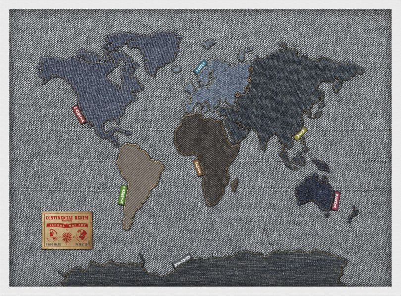 Medium Denim Map of the World (Wood Frame - White)