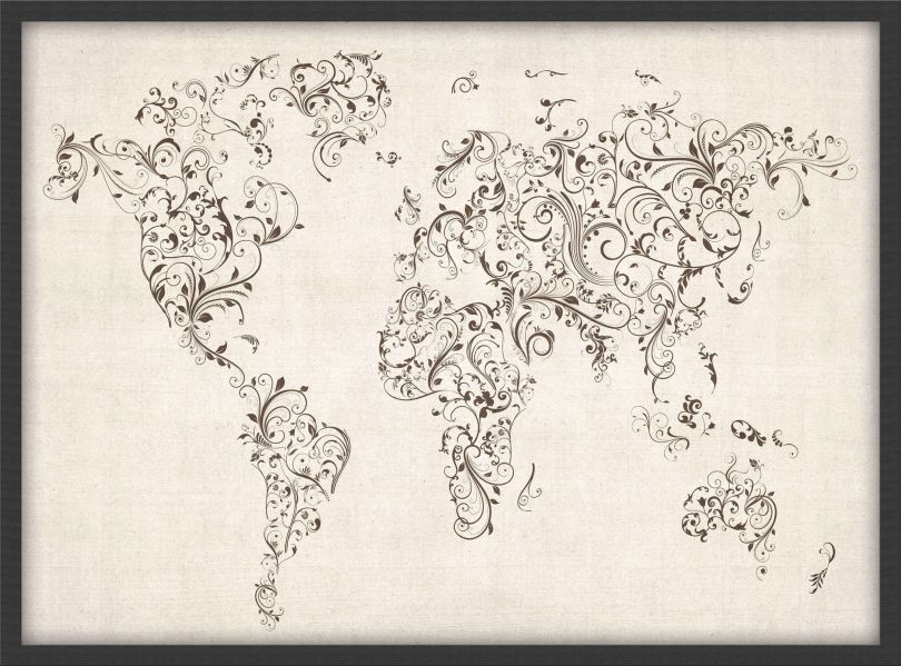 Small Floral Swirls Map of the World (Pinboard & wood frame - Black)