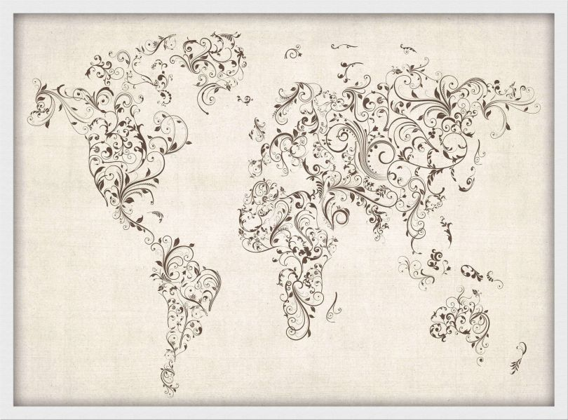 Small Floral Swirls Map of the World (Pinboard & wood frame - White)