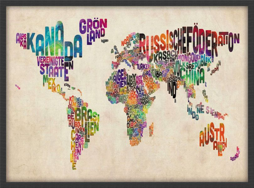 Small German Text Art Map of the World (Wood Frame - Black)