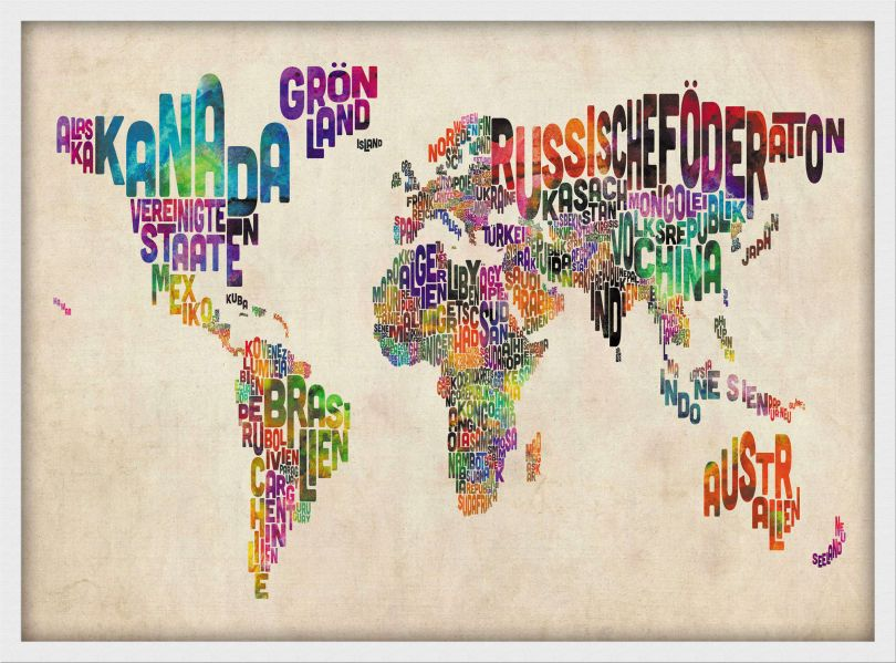Small German Text Art Map of the World (Wood Frame - White)