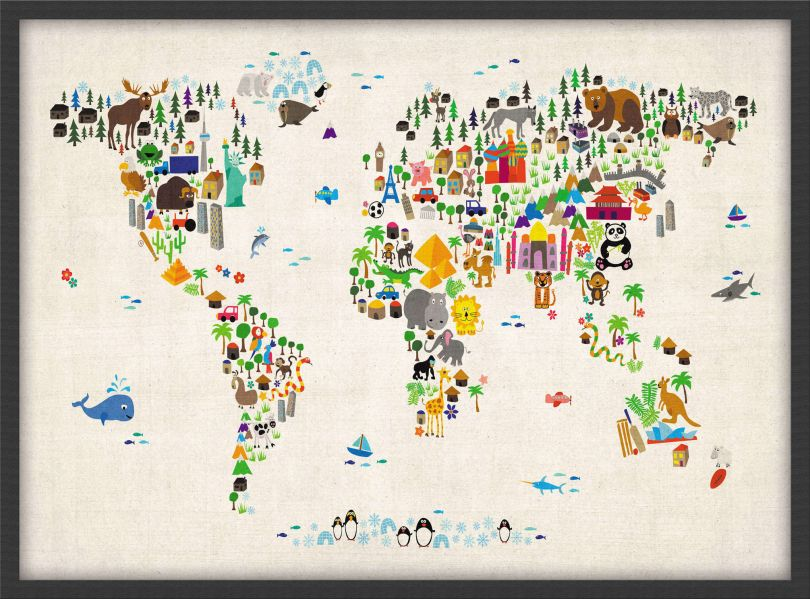 Small Kids Animal Map of the World (Pinboard & wood frame - Black)
