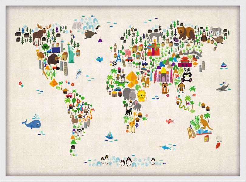 Medium Kids Animal Map of the World (Pinboard & wood frame - White)