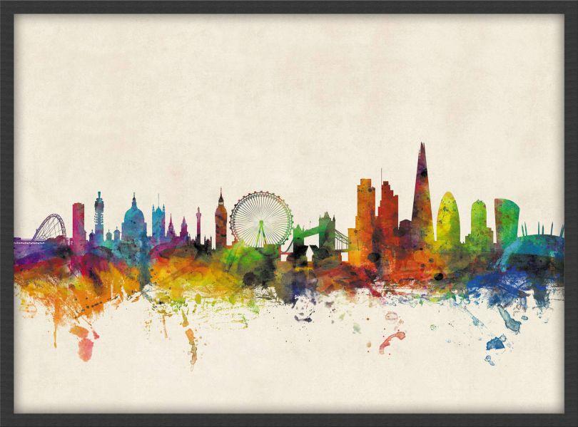 Small London City Skyline (Wood Frame - Black)