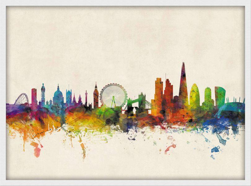 Medium London City Skyline (Wood Frame - White)