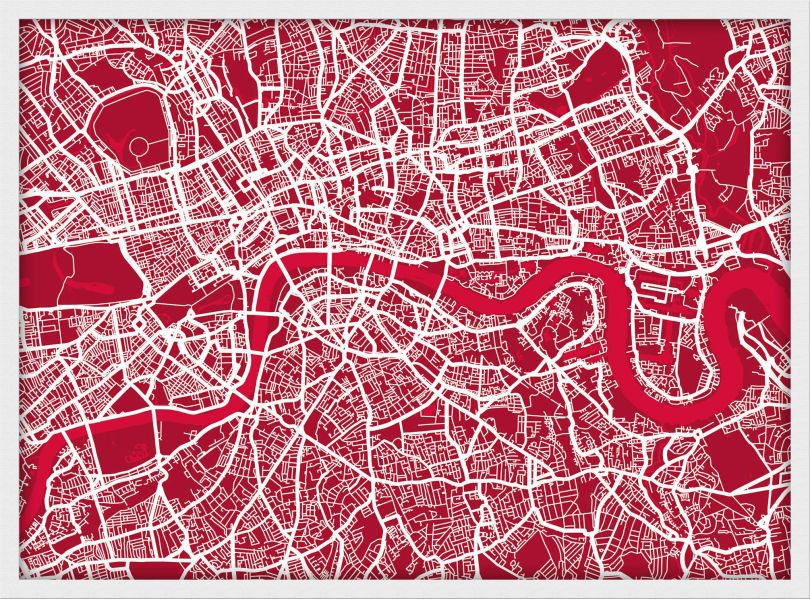 Small London Street Art Map (Pinboard & wood frame - White)
