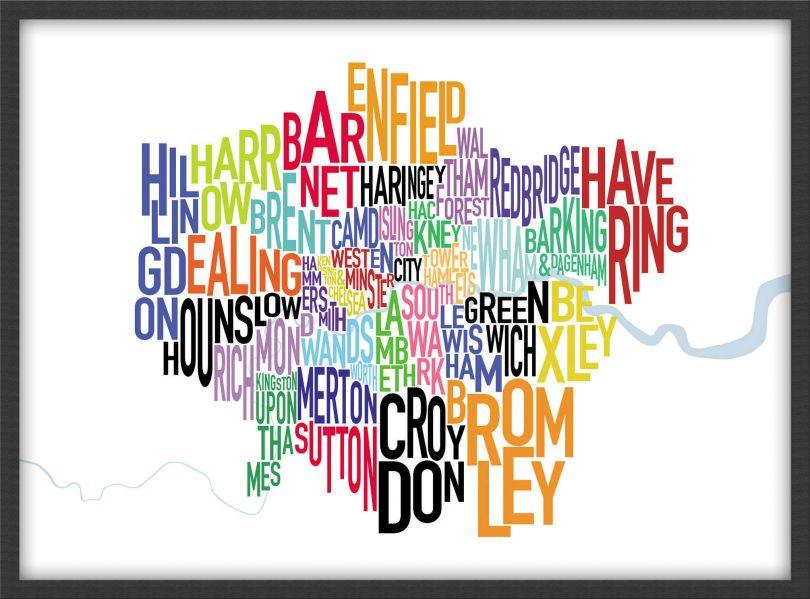Medium London UK Text Map (Pinboard & wood frame - Black)