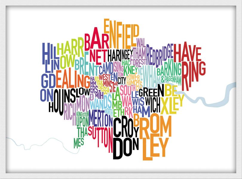 Small London UK Text Map (Pinboard & wood frame - White)