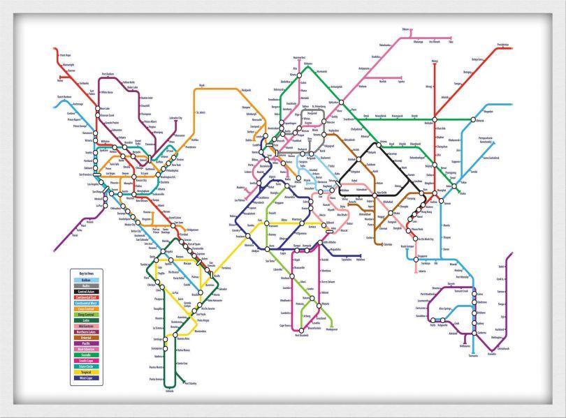 Medium Metro Subway Map of the World  (Pinboard & wood frame - White)
