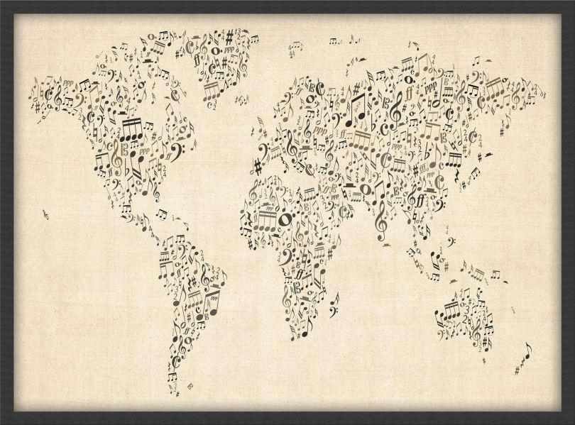 Small Music Notes World Map of the World (Pinboard & wood frame - Black)