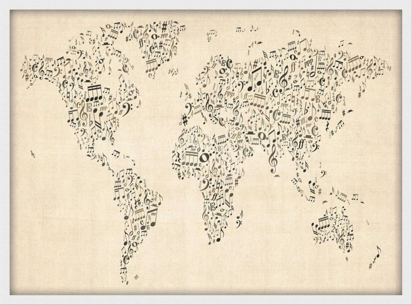 Medium Music Notes World Map of the World (Wood Frame - White)