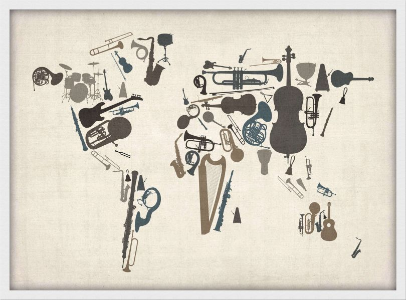 Medium Musical Instruments Map of the World  (Wood Frame - White)