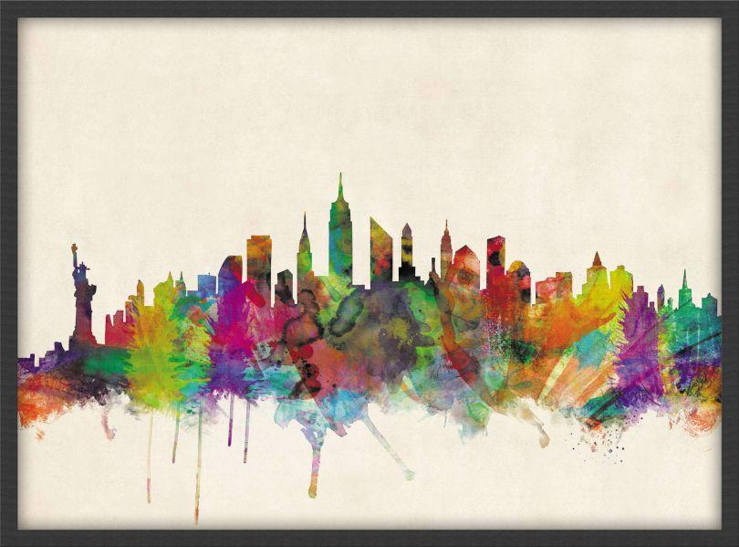 Medium New York City Skyline (Pinboard & wood frame - Black)