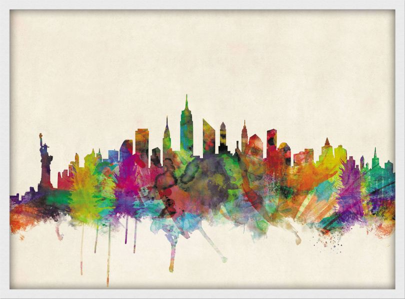 Medium New York City Skyline (Wood Frame - White)