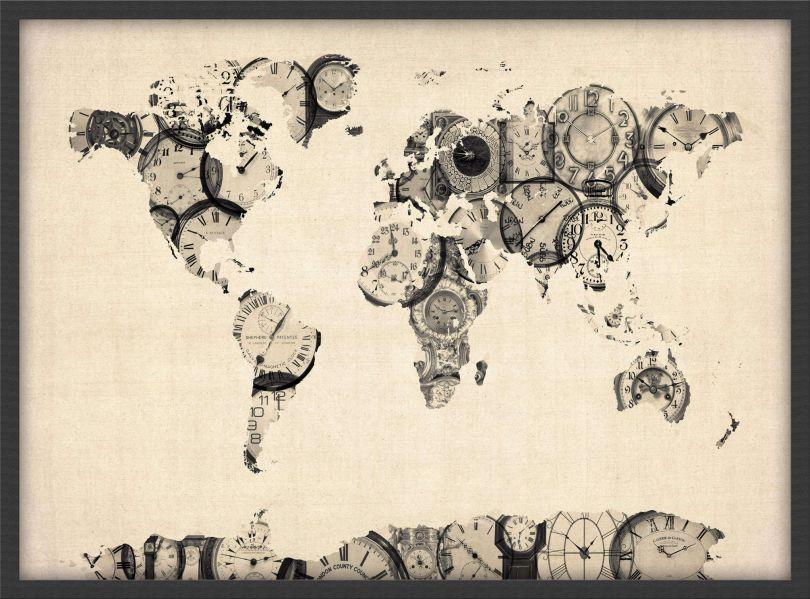 Medium Old Clocks Map of the World (Pinboard & wood frame - Black)