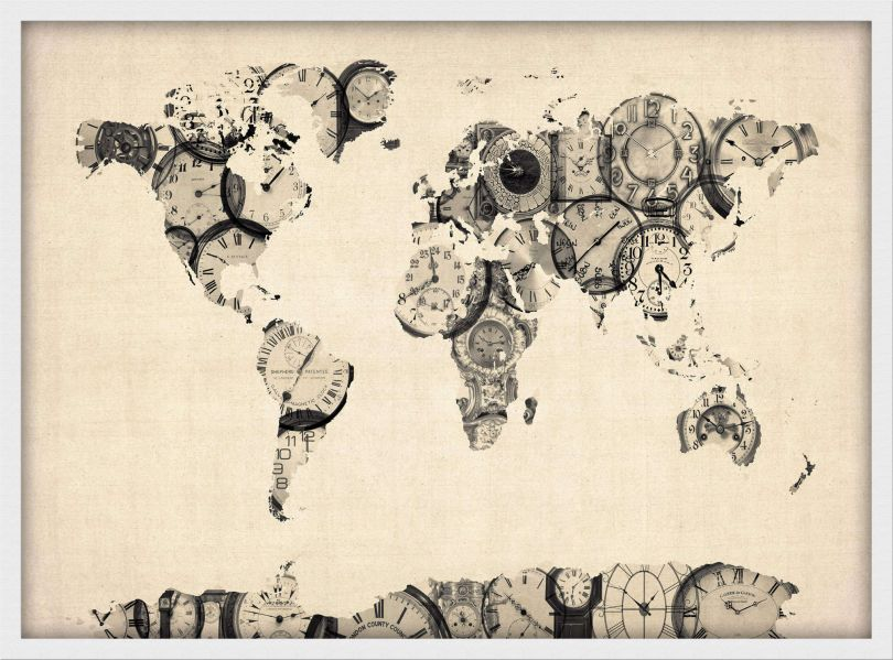 Small Old Clocks Map of the World (Wood Frame - White)