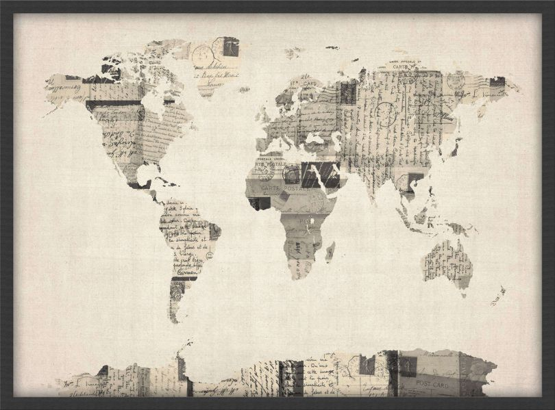 Medium Old Postcards Art Map of the World (Wood Frame - Black)