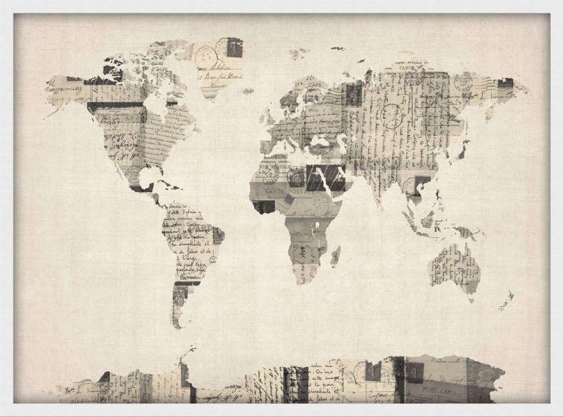 Medium Old Postcards Art Map of the World (Wood Frame - White)
