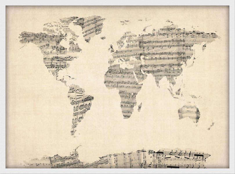 Small Old Sheet Music Map of the World (Pinboard & wood frame - White)