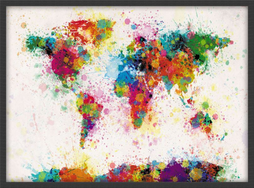 Small Paint Splashes Map of the World (Pinboard & wood frame - Black)