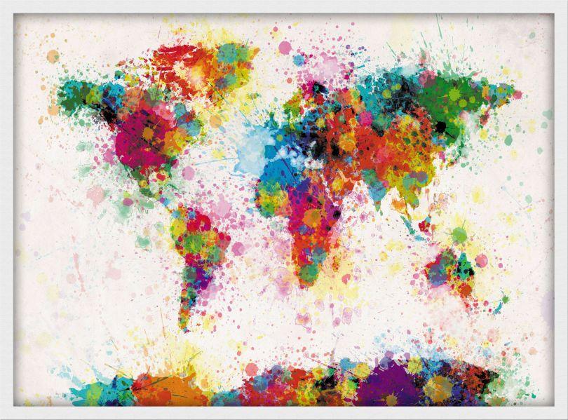Medium Paint Splashes Map of the World (Pinboard & wood frame - White)