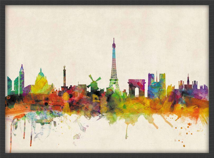 Small Paris City Skyline (Pinboard & wood frame - Black)