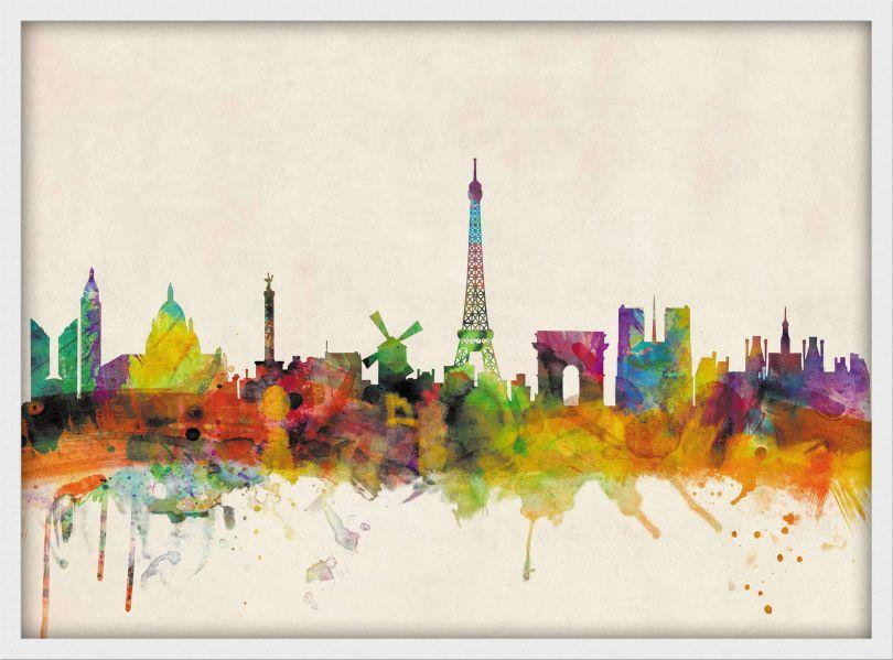 Small Paris City Skyline (Pinboard & wood frame - White)