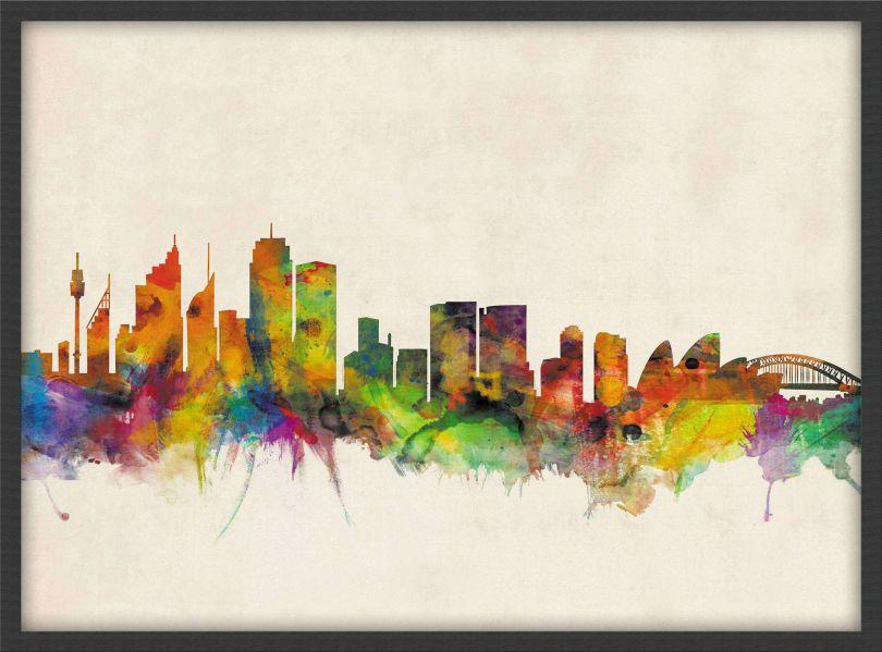 Medium Sydney City Skyline (Wood Frame - Black)