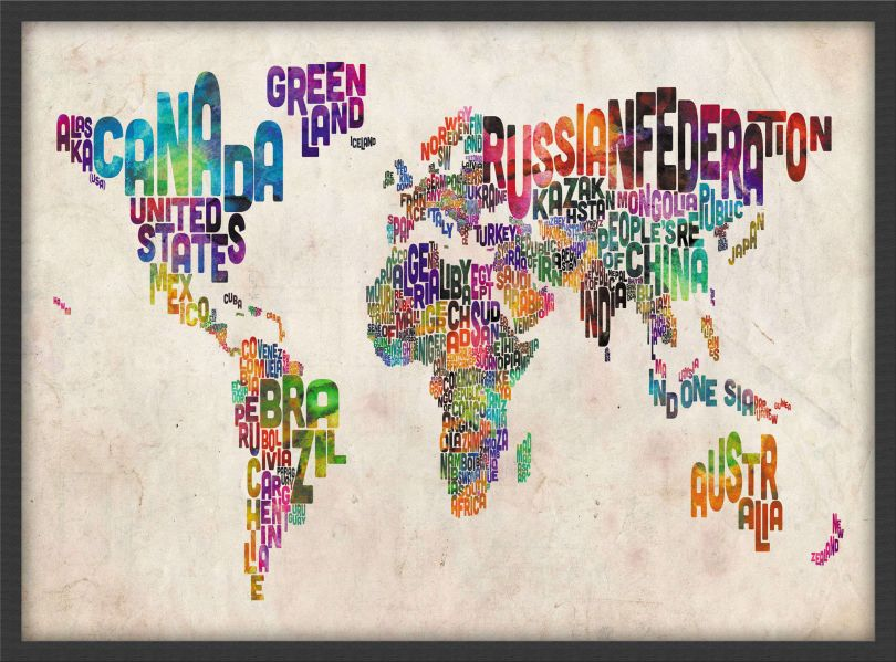 Small Text Art Map of the World (Pinboard & wood frame - Black)