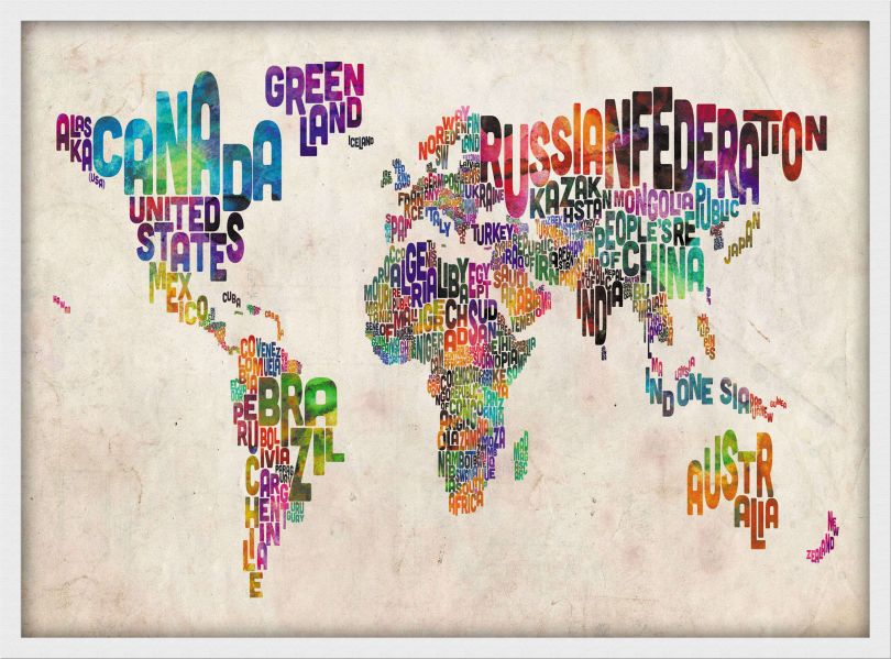 Medium Text Art Map of the World (Pinboard & wood frame - White)