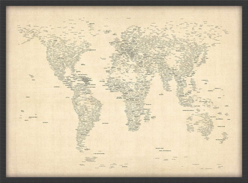 Medium Typography World Map of Cities (Pinboard & wood frame - Black)