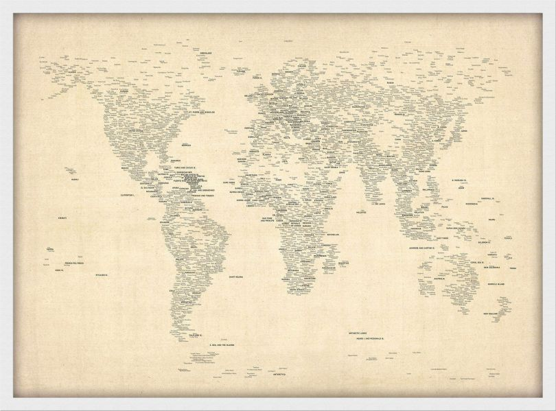 Small Typography World Map of Cities (Wood Frame - White)