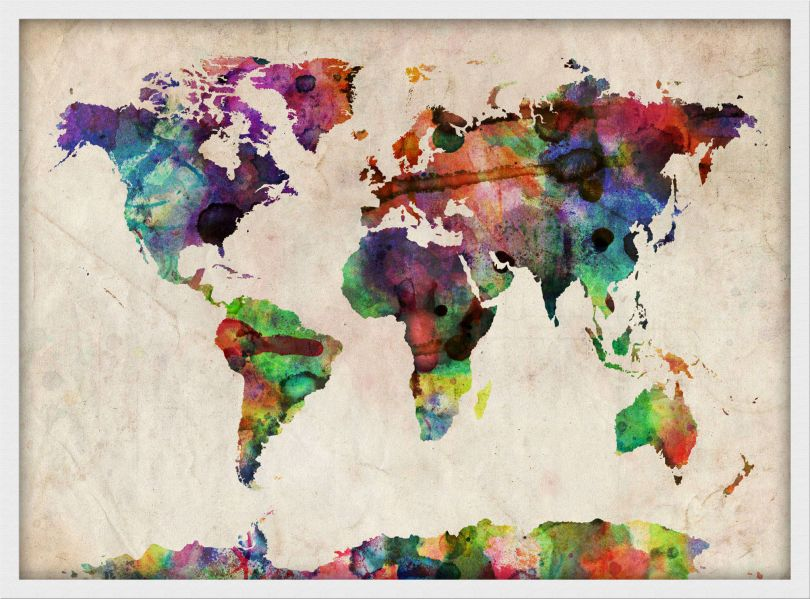 Medium Urban Watercolor Map of the World (Wood Frame - White)
