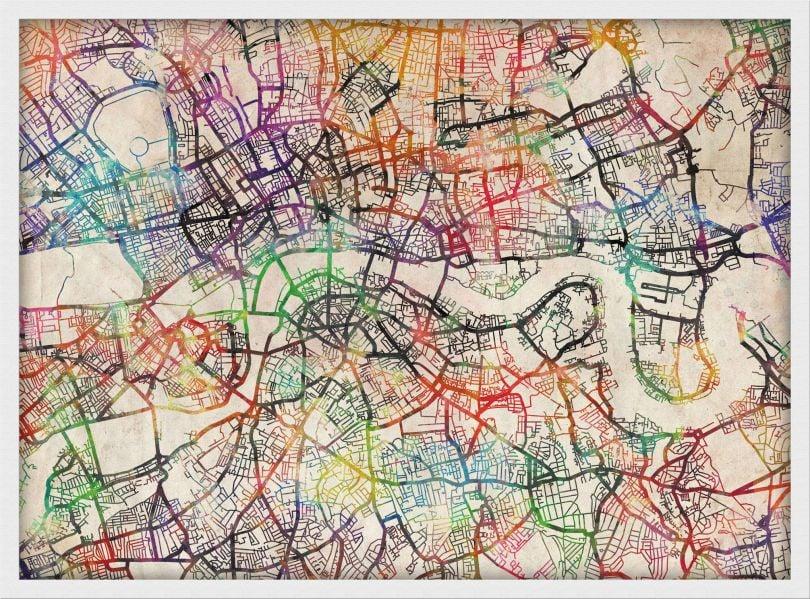 Medium Watercolour Map of London (Pinboard & wood frame - White)